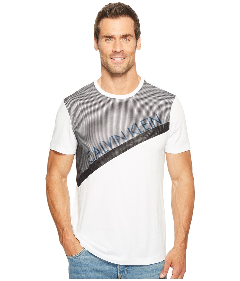 Calvin Klein Mesh Paneled Crew Neck T-Shirt (White Wash) Men