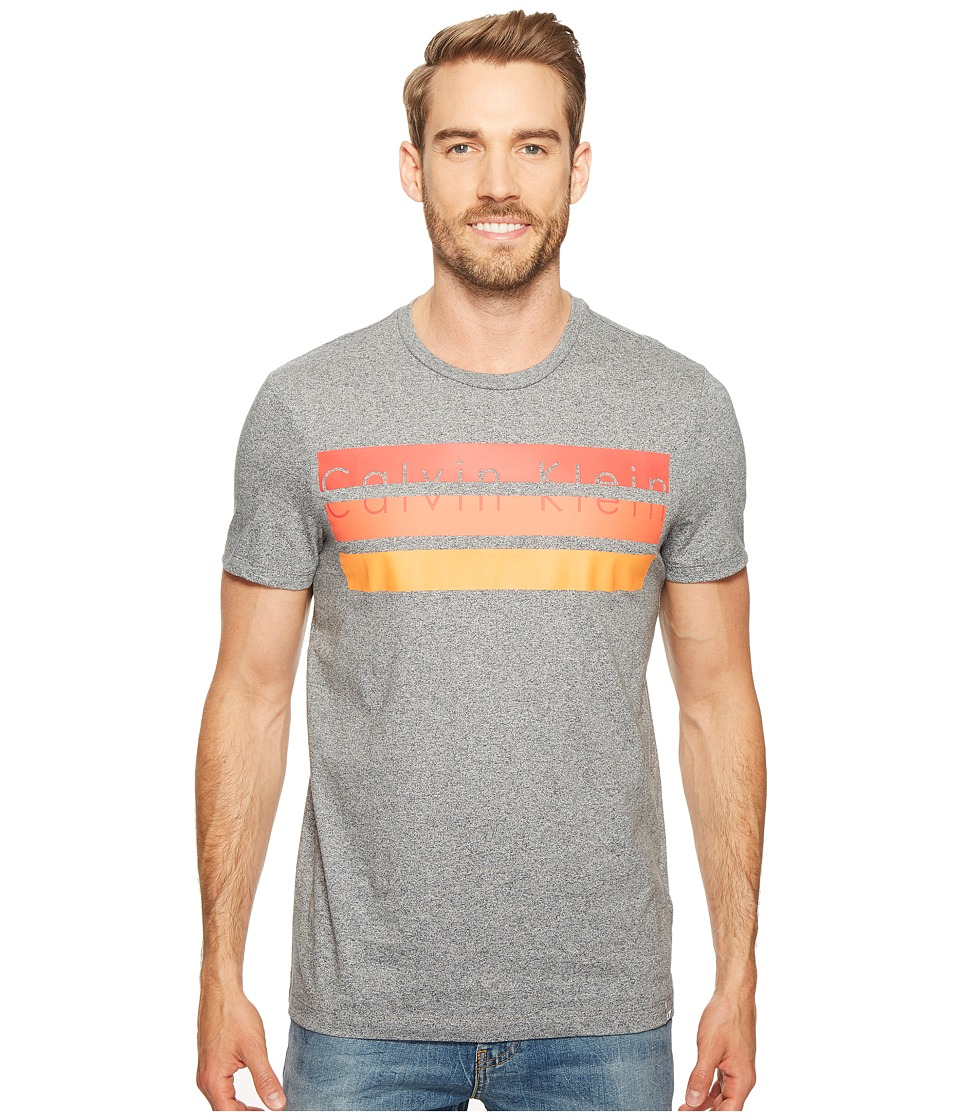 Calvin Klein Knockout Logo Stripe T-Shirt (Meteor Ash Heather) Men