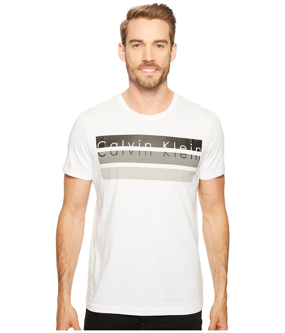 Calvin Klein Knockout Logo Stripe T-Shirt (White Wash) Men