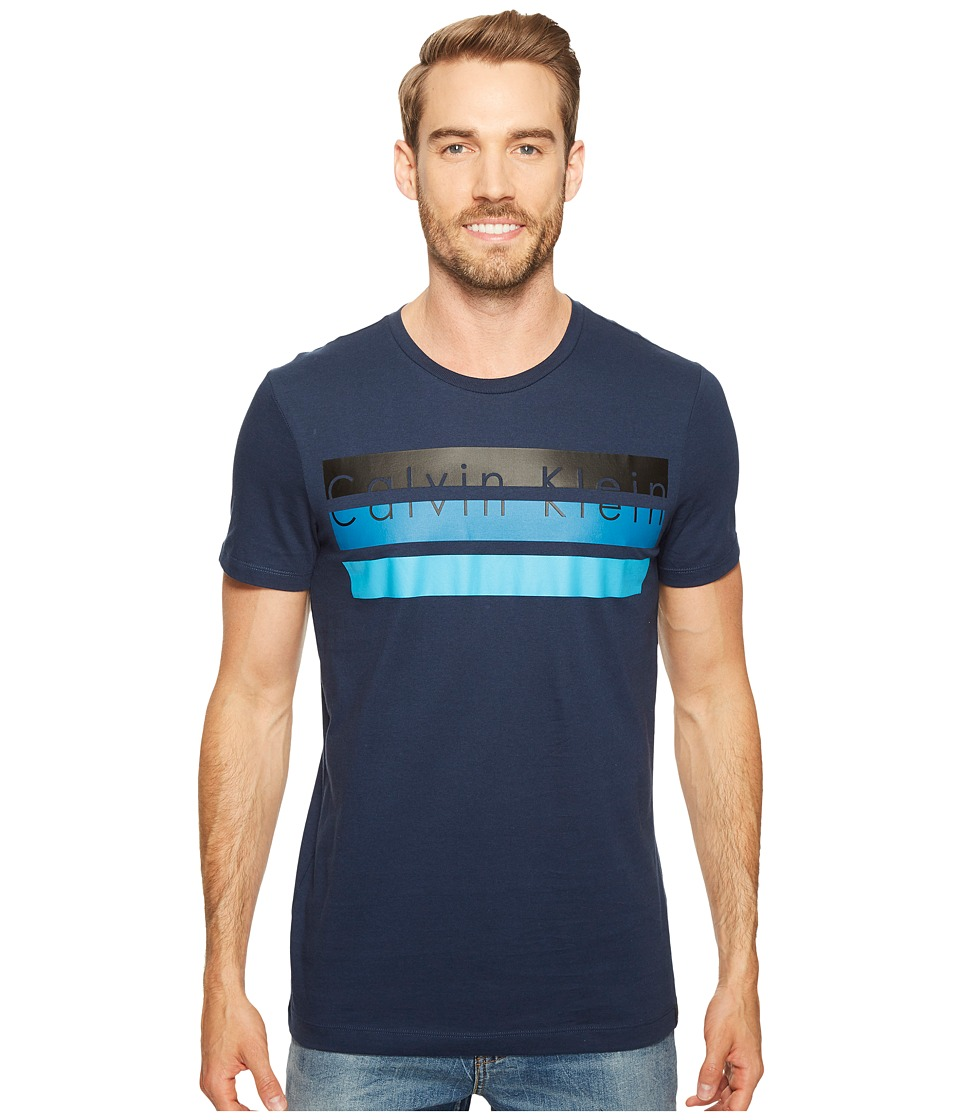Calvin Klein Knockout Logo Stripe T-Shirt (Atlantis) Men