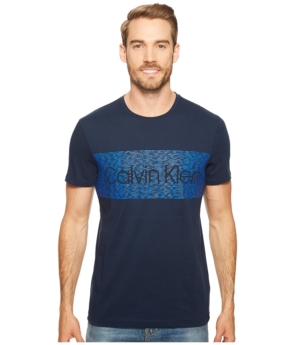 Calvin Klein Dash Logo Crew Neck T-Shirt (Atlantis) Men