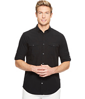 Calvin Klein - Fine Seersucker Voile Roll-Tab Button Down