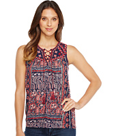 Lucky Brand - Paisley Lace-Up Tank Top