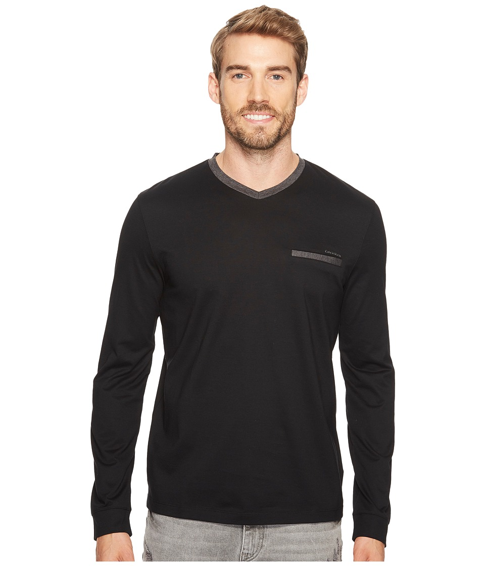 Calvin Klein Textured Jersey Contrast Welt Pocket Shirt (Black) Men