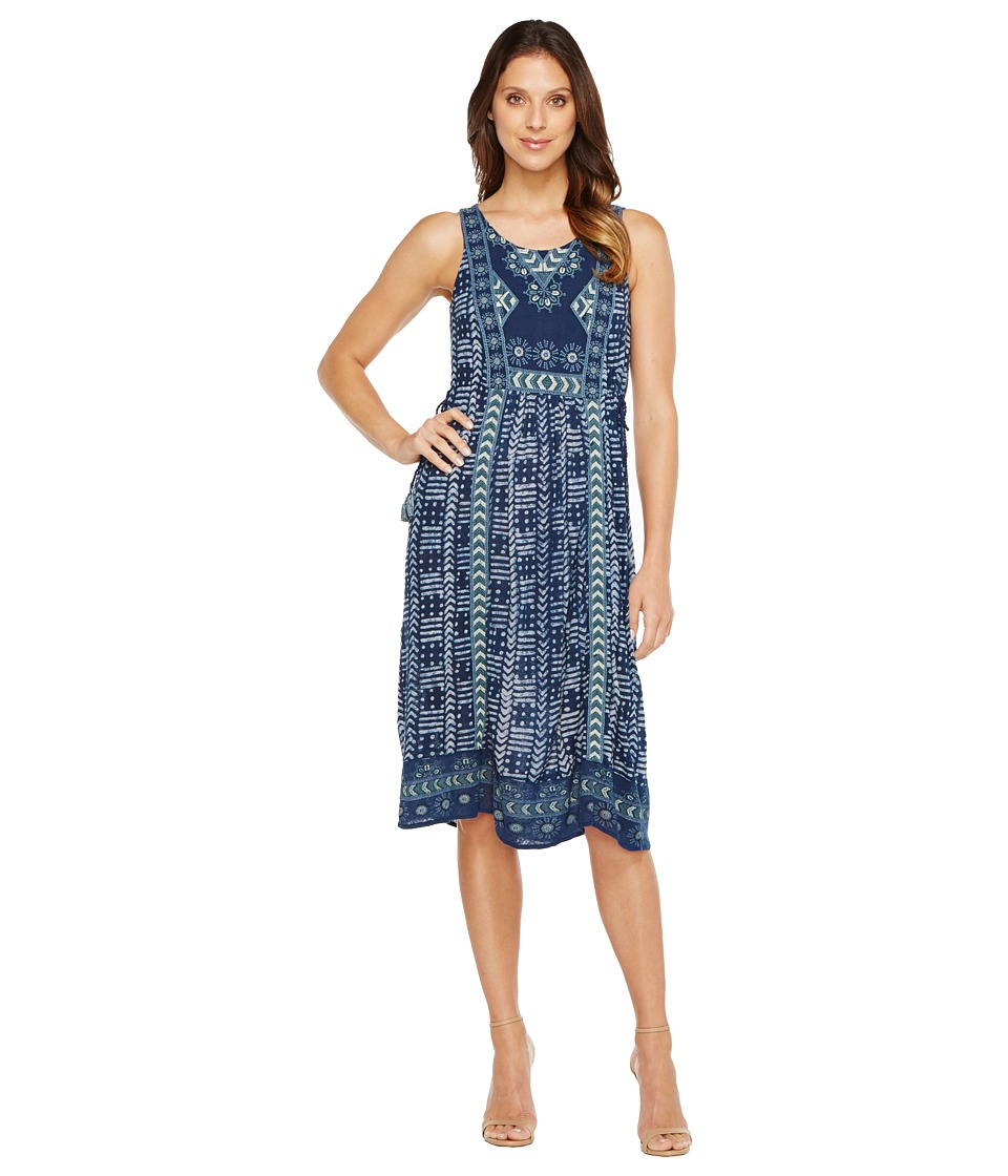Lucky Brand Embroidered Printed Dress (Blue Multi) Women