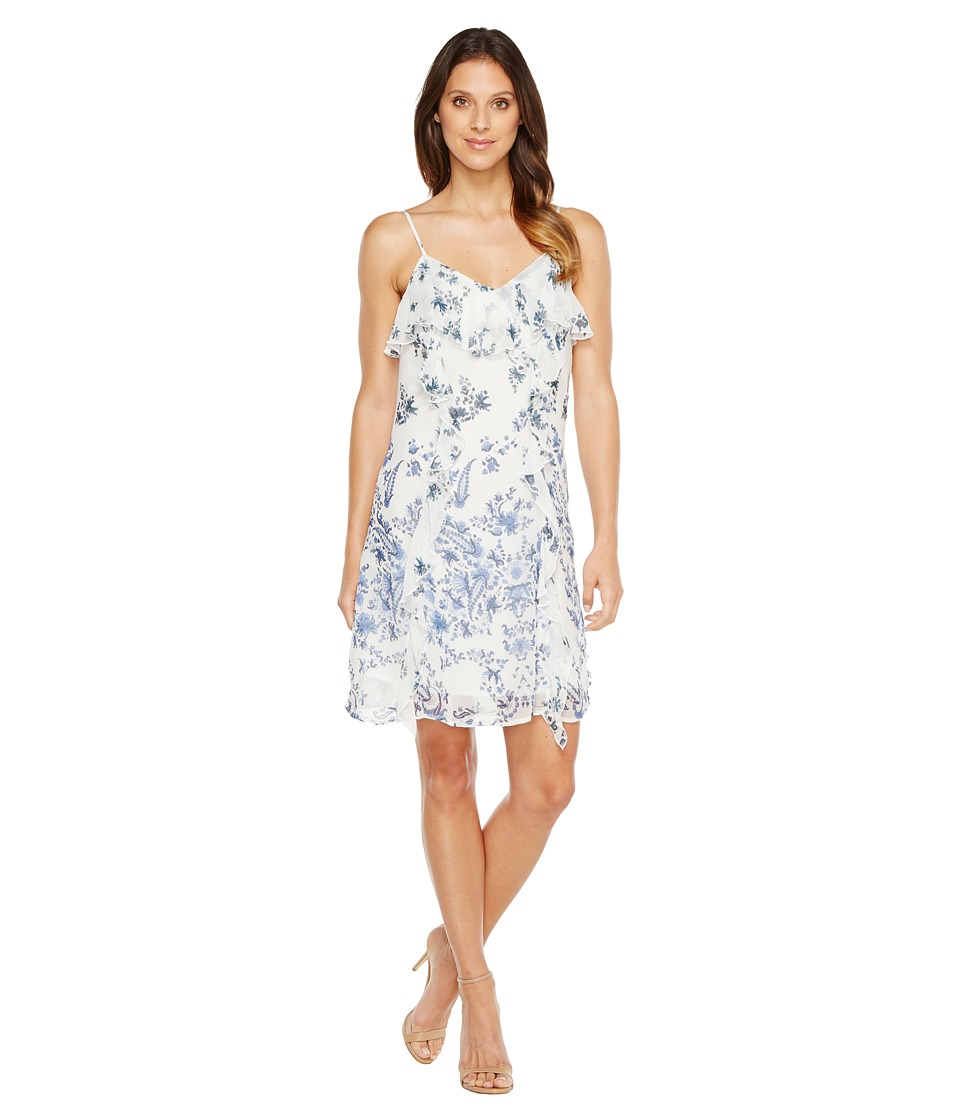 Lucky Brand Ruffle Bare Strap Dress (Blue Multi) Women