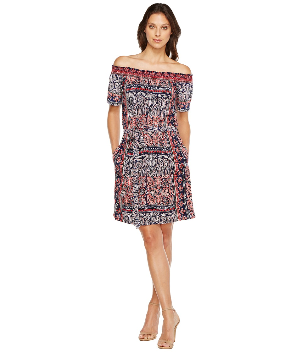 Lucky Brand Off Shoulder Knit Dress (Navy Multi) Women