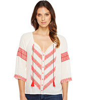Lucky Brand - Chevron Embroidered Peasant Top