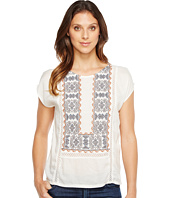 Lucky Brand - Embroidered Mix Top