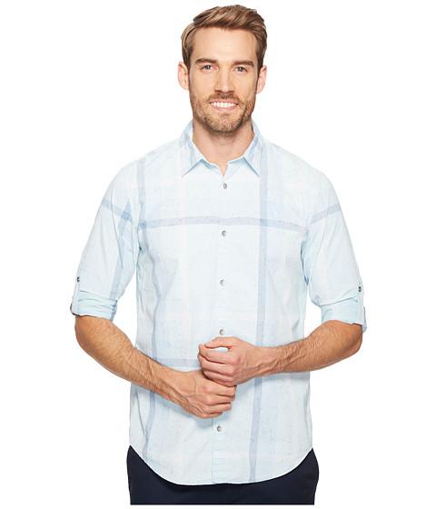 Calvin Klein Jeans Blotch Print Exploded Plaid Roll-Tab Button Down