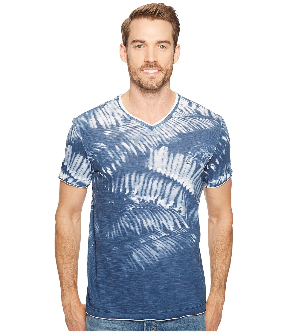 Calvin Klein Jeans Weekend Palms V-Neck T-Shirt (Sargasso Sea) Men