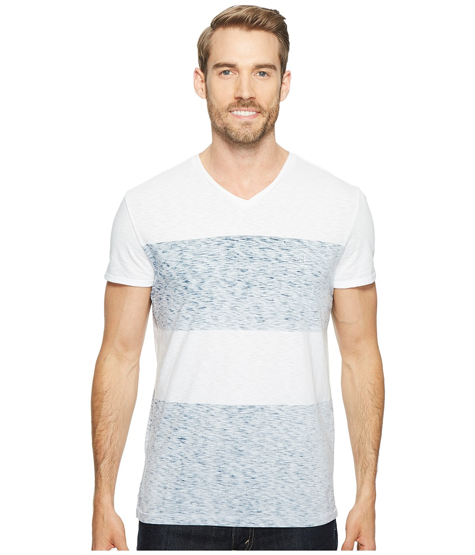 Calvin Klein Jeans Reverse Blotch Color Block V-Neck T-Shirt (White) Men
