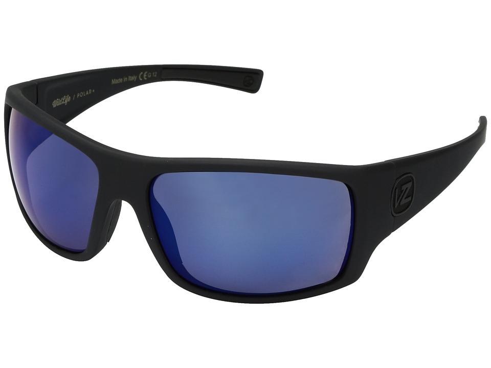 VonZipper Suplex Polarized (Black Satin/Wild Blue Flash Polar Plus) Fashion Sunglasses