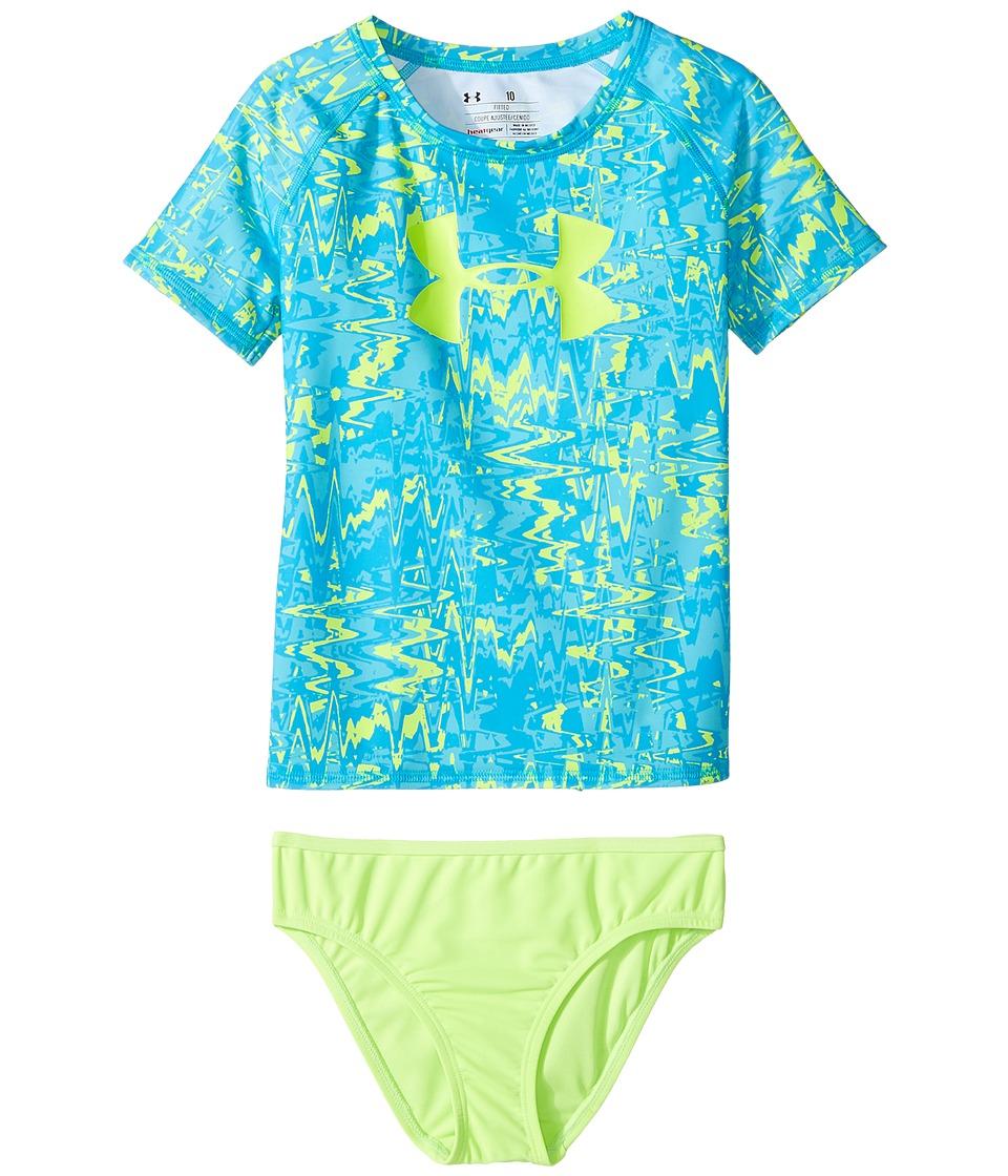 Under Armour Kids - Pop Dazz Rashguard Set (Big Kids) (Meridian Blue) Girls Swimwear Sets