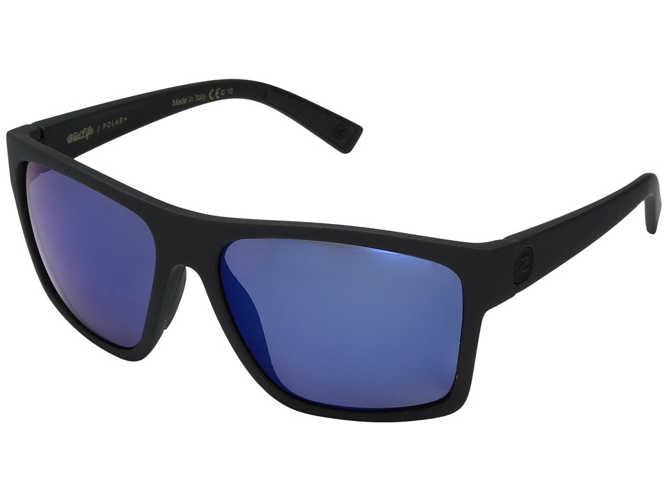 VonZipper Dipstick Polar (Black Satin/Wild Blue Flash Polar Plus) Sport Sunglasses