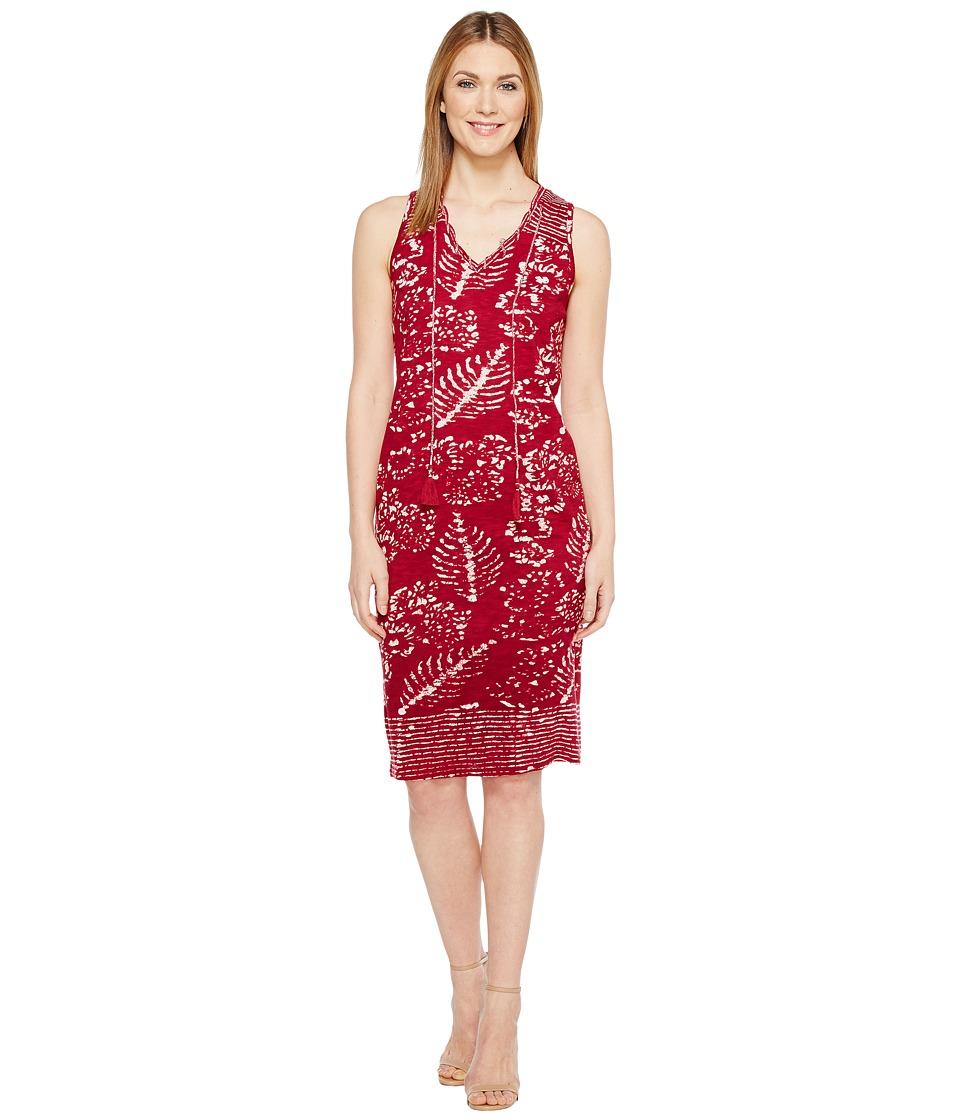 Lucky Brand Red Batik Print Dress (Burgundy Multi) Women
