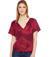 Lucky Brand - Tropical Leaves Peasant Top