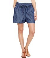Lucky Brand - Tie Front Chambray Shorts in Blue Chambray