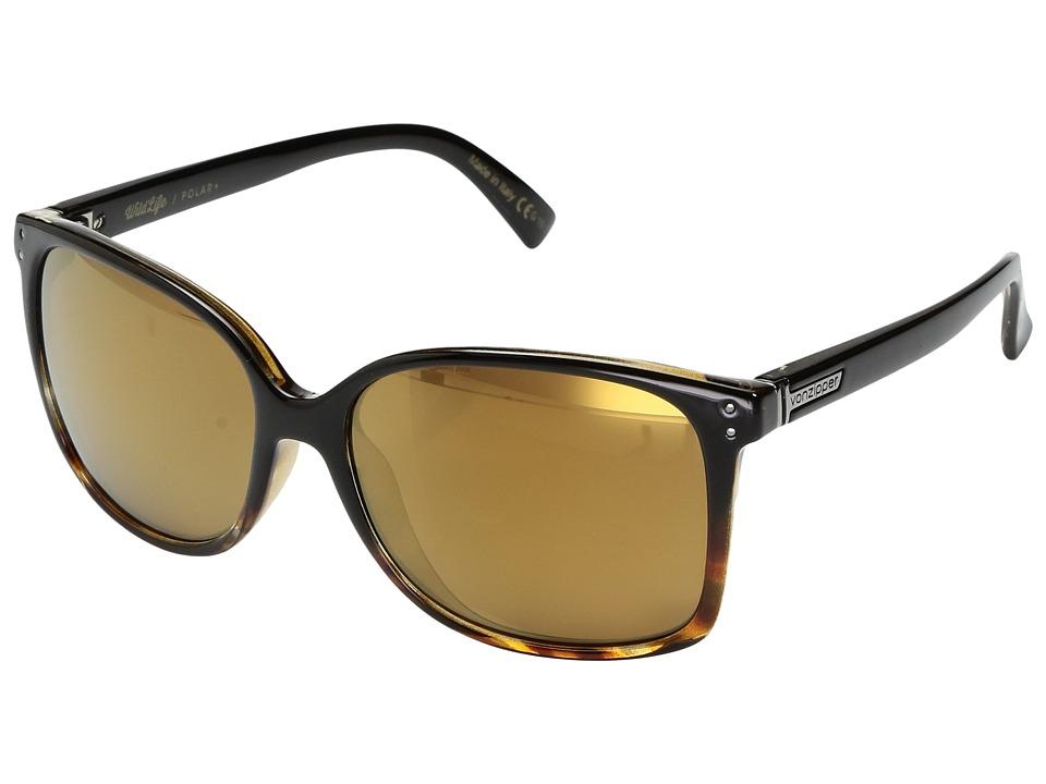VonZipper Castaway Polar (Black Tortoise Fade Gloss/Wild Gold Flash Polar Plus) Sport Sunglasses
