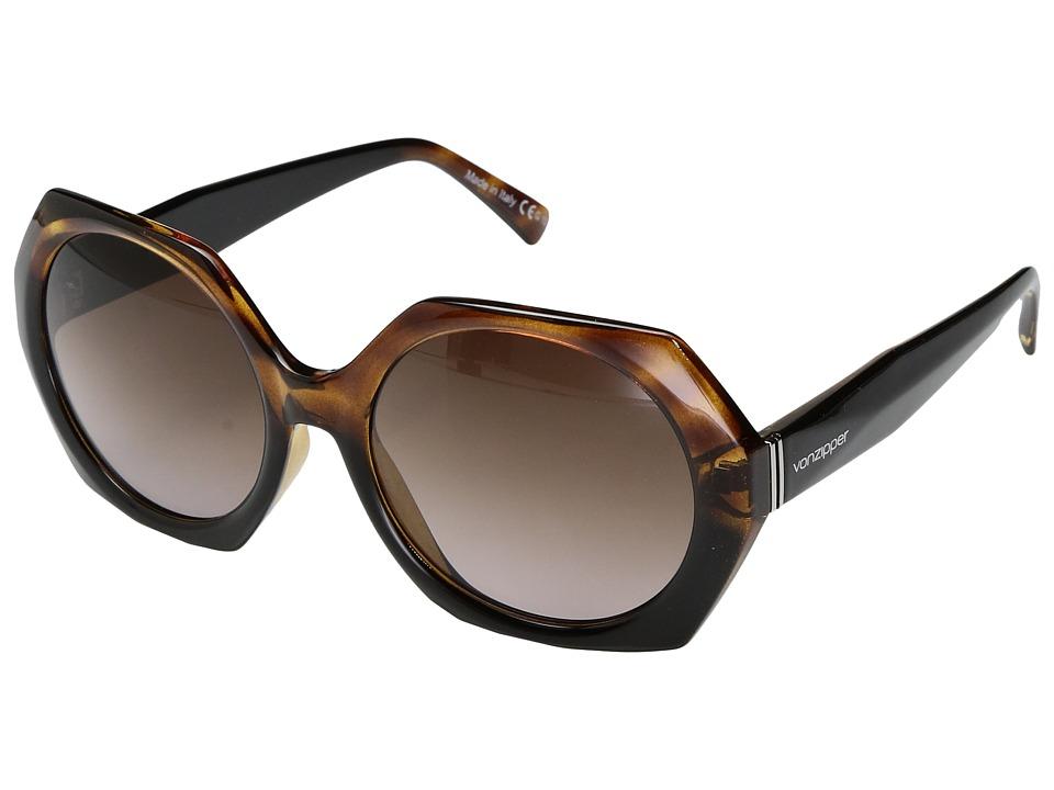 VonZipper Buelah (Reverse Black Tortoise/Brown Gradient) Sport Sunglasses