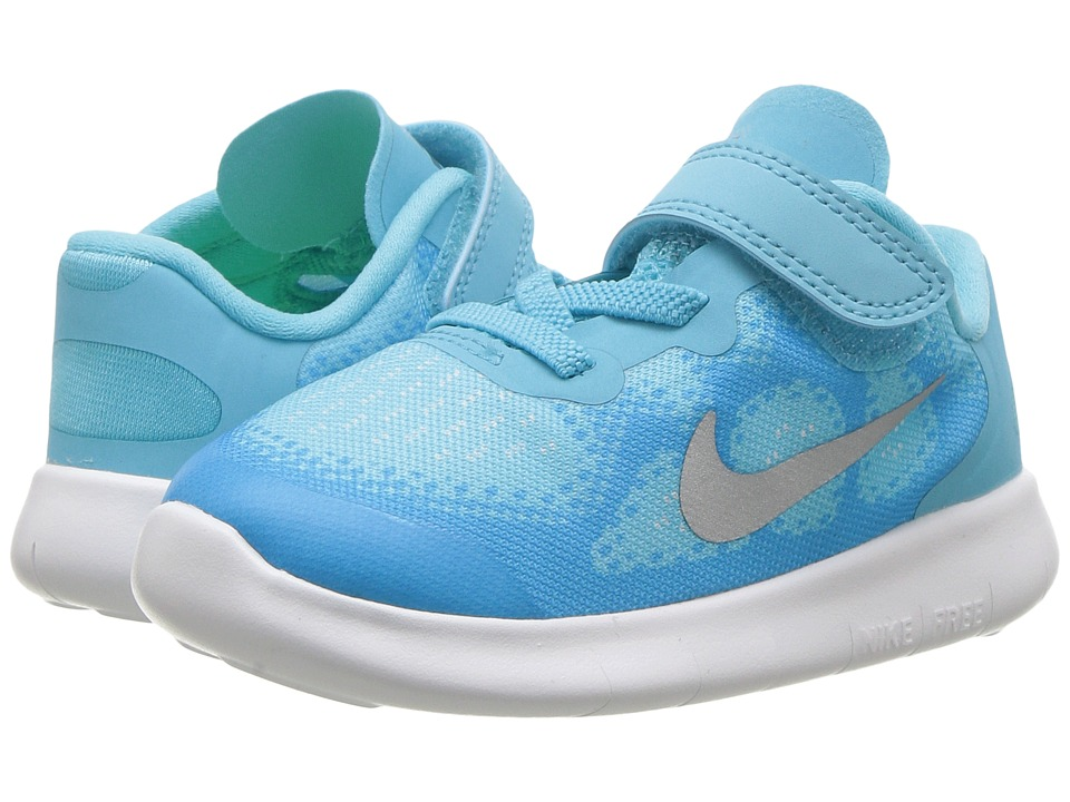 Nike Kids Free RN 2017 (Infant/Toddler) (Polarized Blue/Metallic Silver/Blue Fury) Girls Shoes