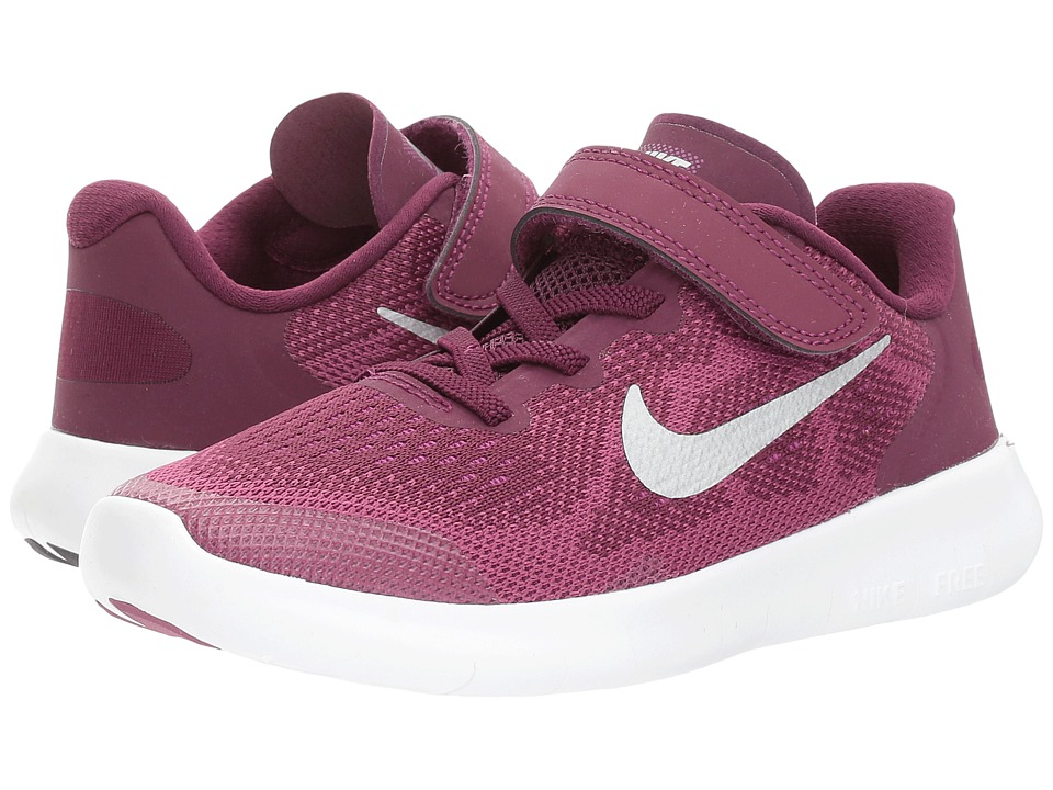 Nike Kids Free RN 2017 (Little Kid) (Bordeaux/Metallic Silver/Tea Berry) Girls Shoes