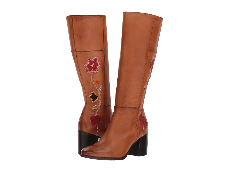 Retro Boots, Granny Boots, 70s Boots Frye - Nova Flower Tall Cognac Womens Shoes $598.00 AT vintagedancer.com