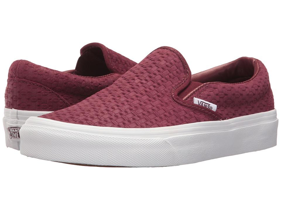 Vans Classic Slip-Ontm ((Suede Embossed Weave) Port Royale/True White) Skate Shoes