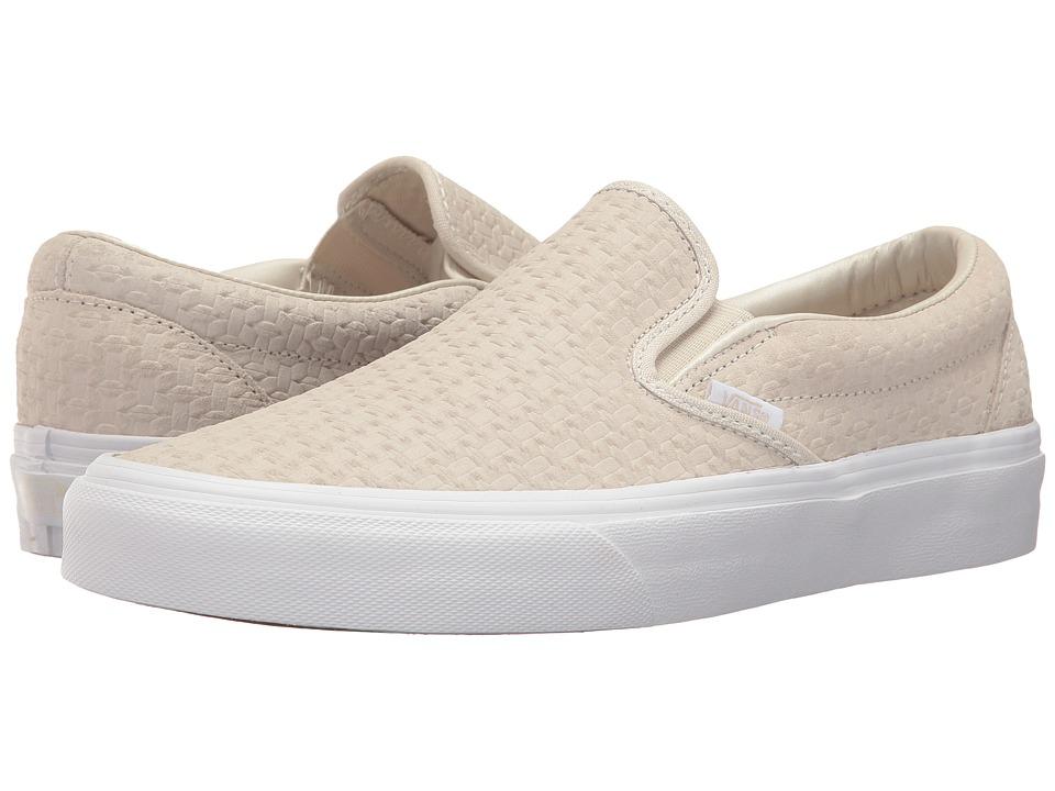 Vans Classic Slip-Ontm ((Suede Embossed Weave) Birch/True White) Skate Shoes