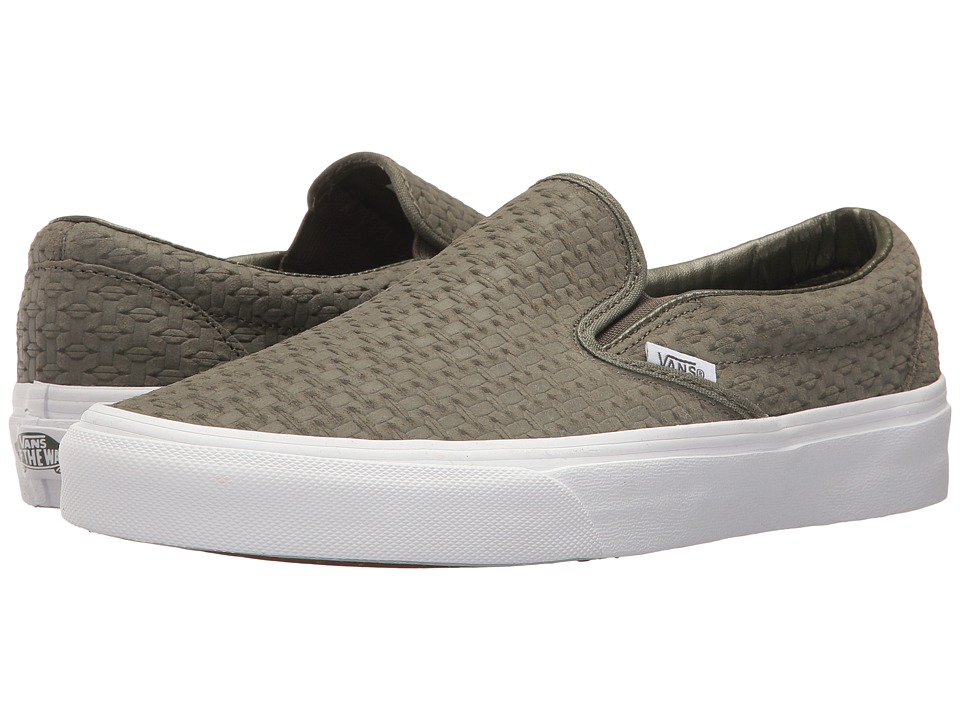 Vans Classic Slip-Ontm ((Suede Embossed Weave) Grape Leaf/Burnt Olive) Skate Shoes
