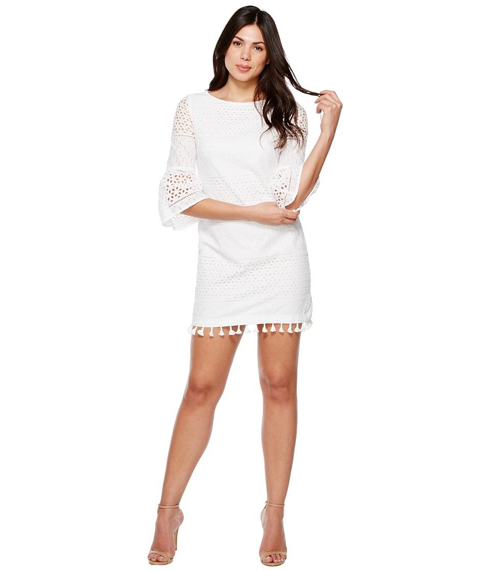 Vince Camuto Eyelet Bell Sleeve Shift Dress (Ivory) Women