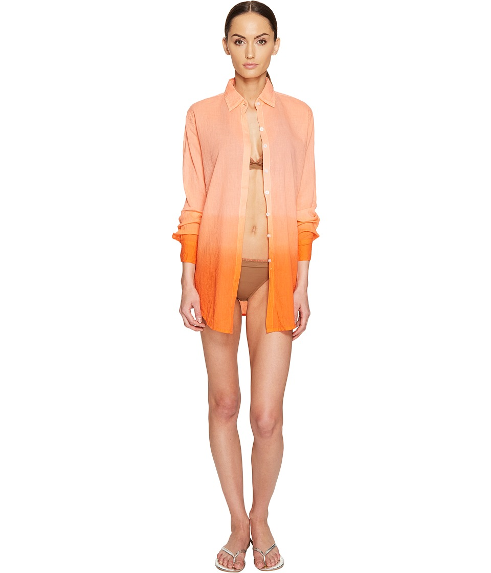 Letarte Ombre Beach Shirt (Hot Coral) Women
