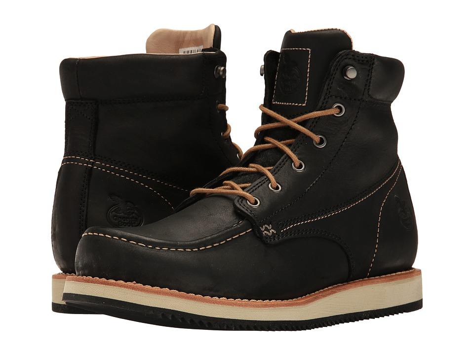 Georgia Boot - Small Batch 6 Moc Toe Wedge (Black) Mens Work Boots