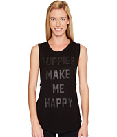 Puppies Make Me Happy - Title Tee Black on Black - Sleeveless