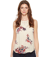 Lucky Brand - Floral Print Mixed Lace Yoke Tank Top