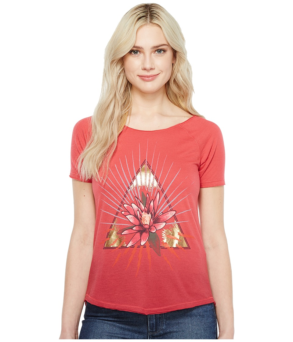 Lucky Brand Floral Triangle Tee (Rhubarb) Women