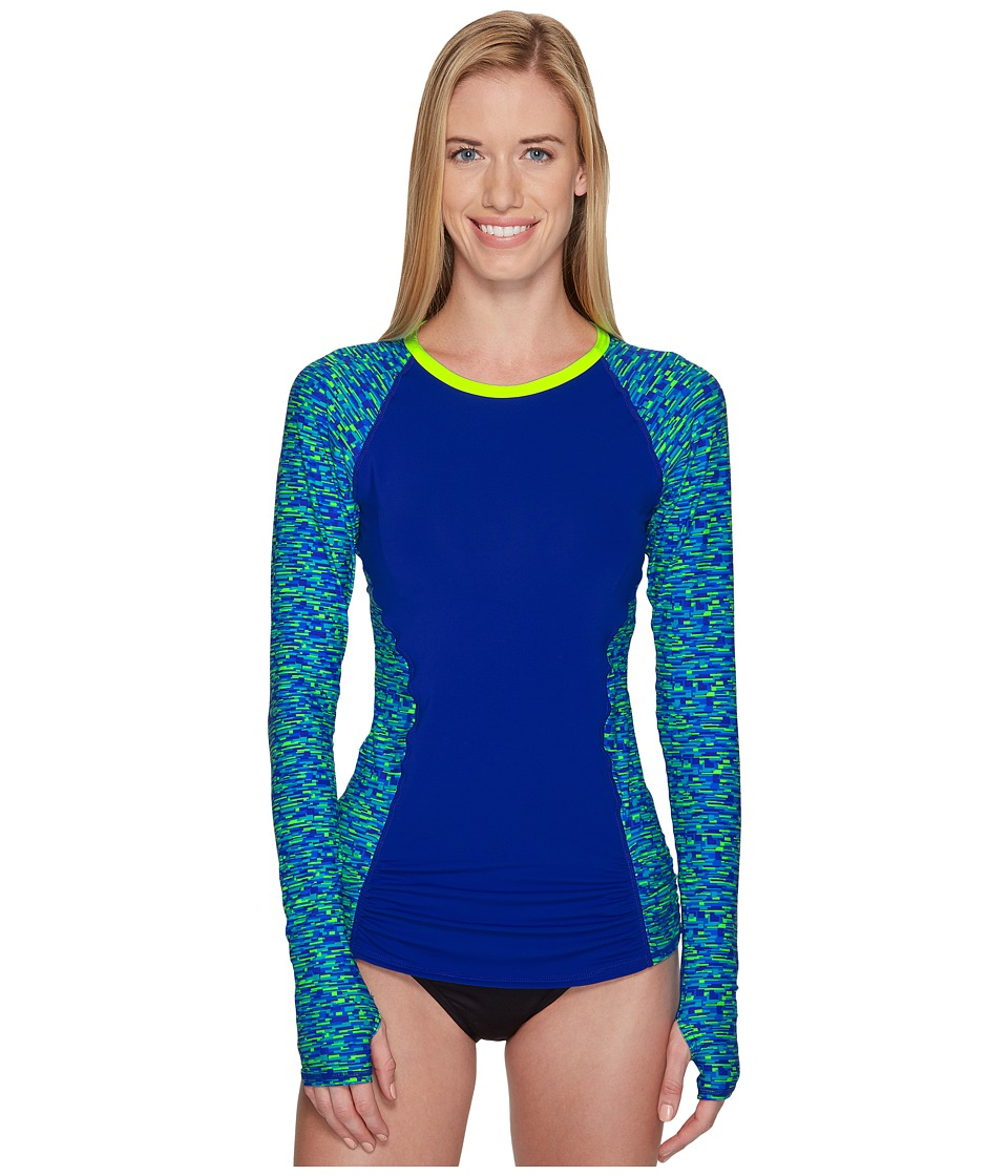 TYR Napa Aria Long Sleeve Rashguard (Royal/Lime) Women