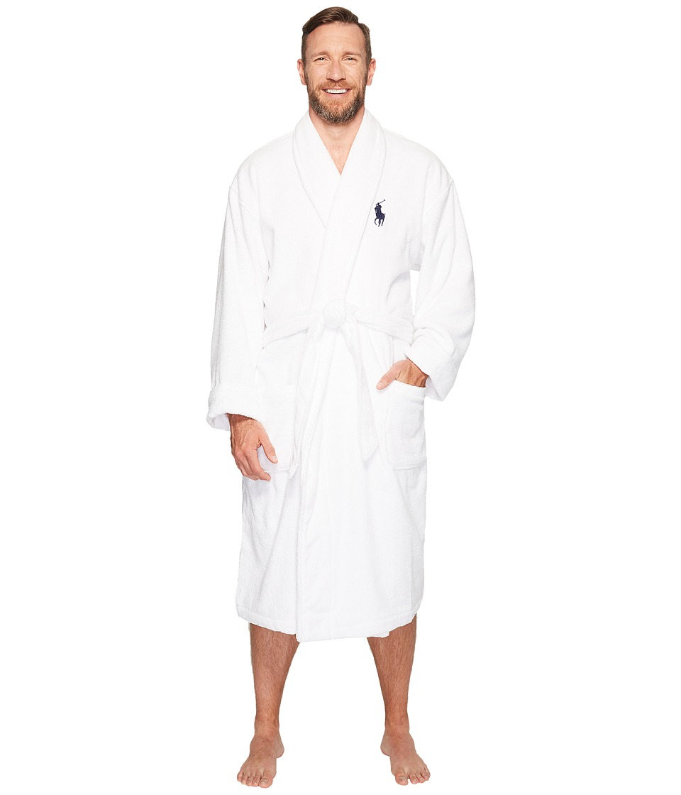 Ralph Lauren Big Velour Kimono Robe (White) Men's Robe