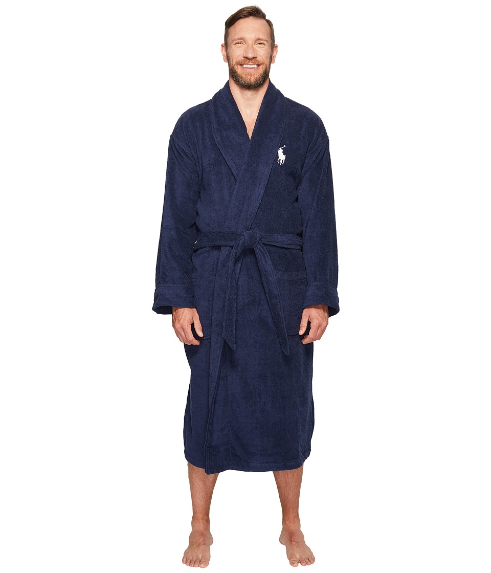 Ralph Lauren Big Velour Kimono Robe (Cruise Navy) Men's Robe