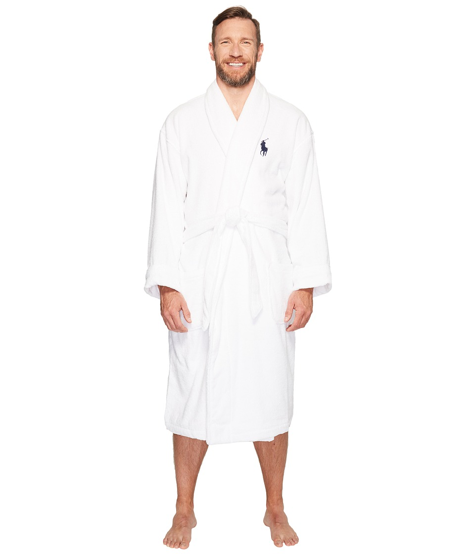 Ralph Lauren Tall Velour Kimono Robe (White) Men's Robe