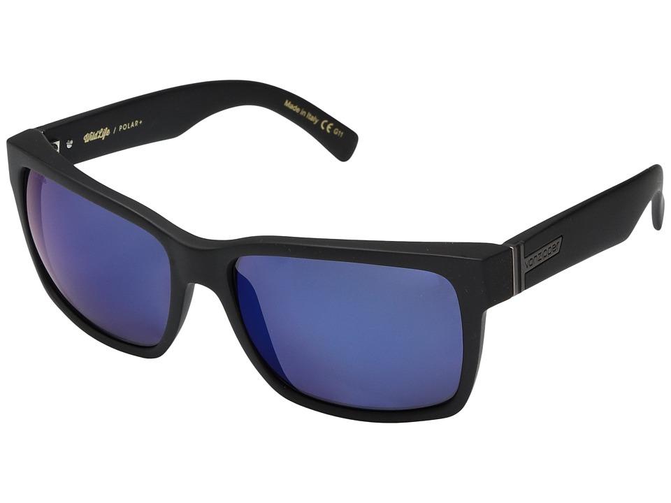 VonZipper Elmore Polar (Black Satin/Wild Blue Flash Polar Plus) Fashion Sunglasses