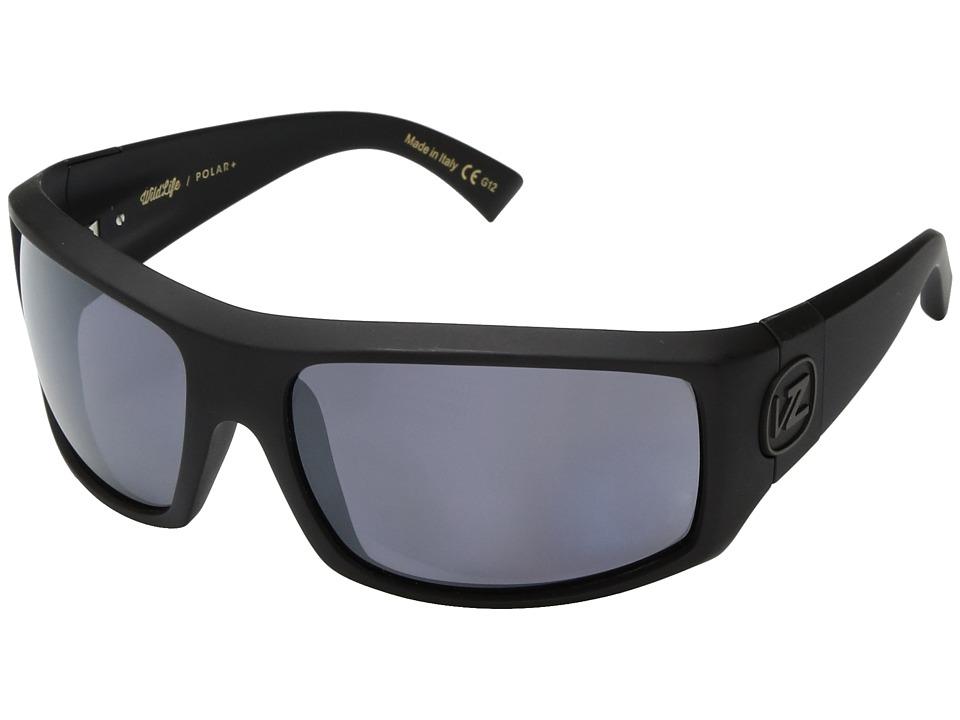 VonZipper Clutch Polar (Black Satin/Wild Silver Flash Polar Plus) Sport Sunglasses