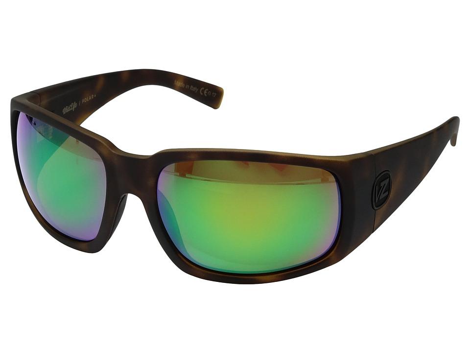 VonZipper Palooka Polarized (Tortoise Satin/Wild Green Chrome Polar Plus) Sport Sunglasses