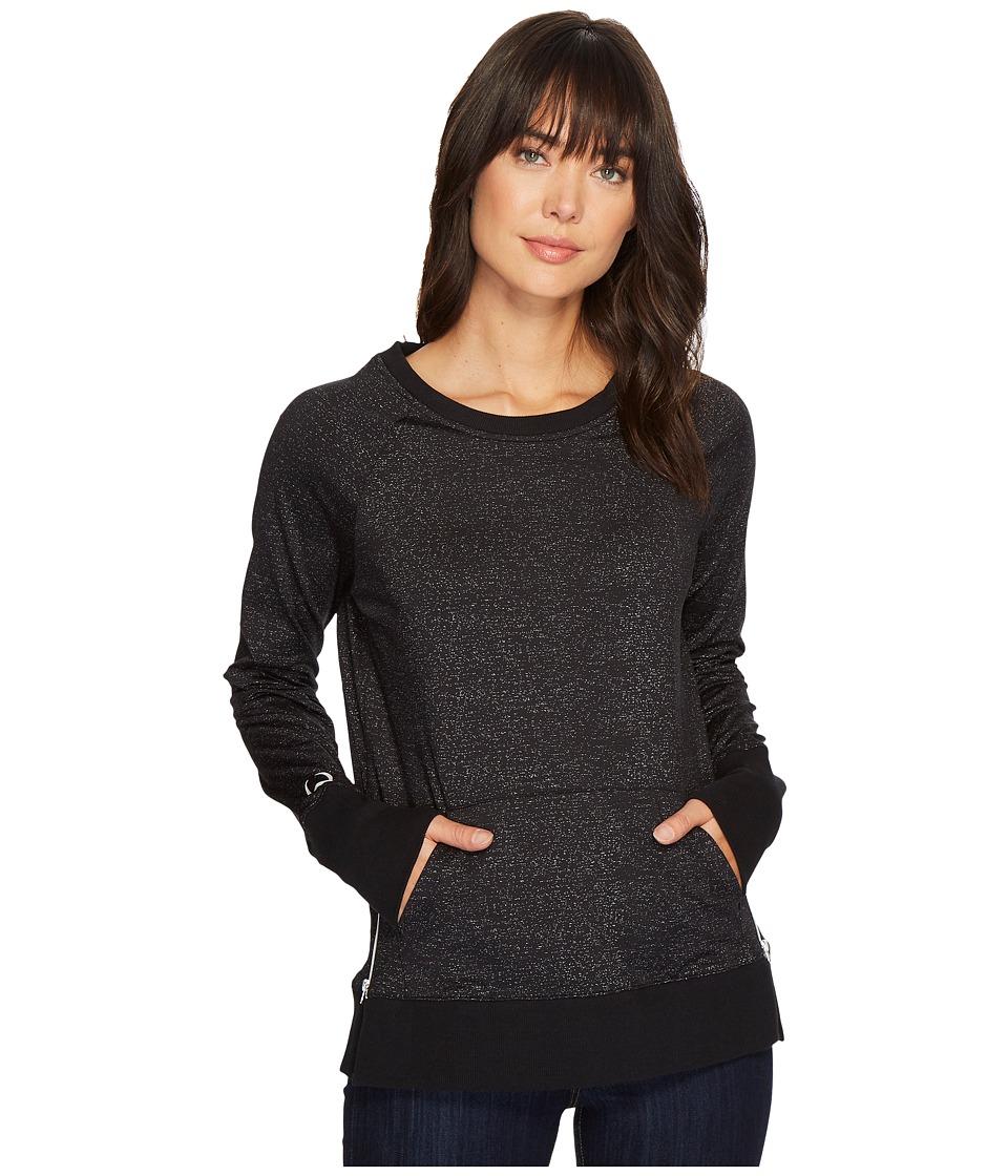 Cinch Raglan Sweatshirt with Side Zip (Black) Women