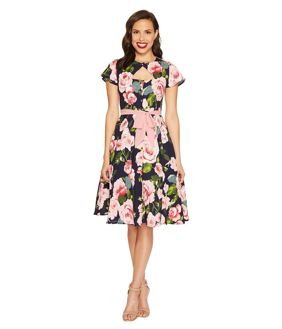 Unique Vintage Ashcroft Short Sleeve Swing Dress (Navy & Pink Floral) Women