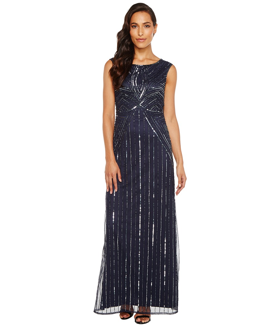 Adrianna Papell - Extended Cap Sleeve Swirl Bead Gown