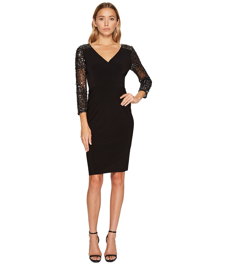 Adrianna Papell - Stretch Knit Beaded Cocktail Dress