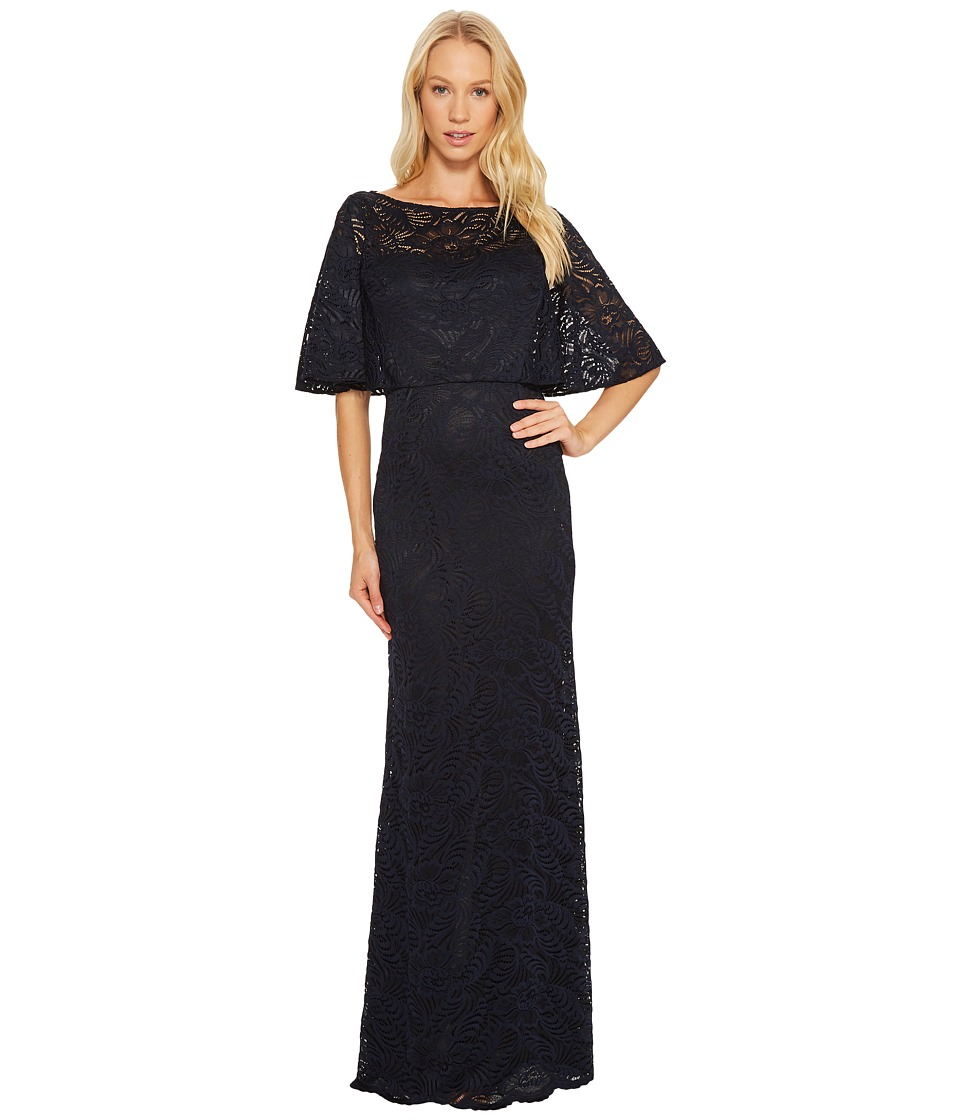 Adrianna Papell - Stretch Lace Caplet Gown (Ink) Women's Dress