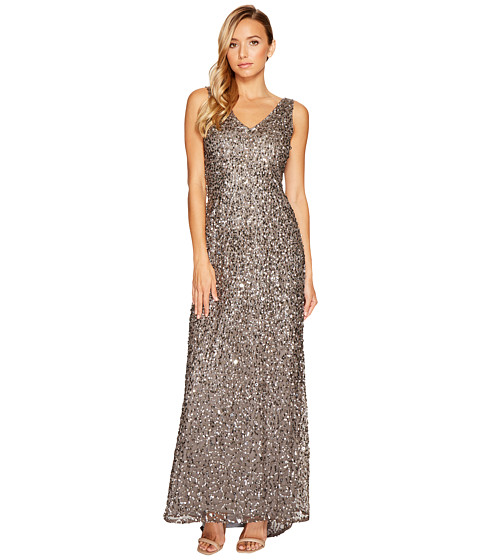 Adrianna Papell V-Neck Crunchy Bead Gown