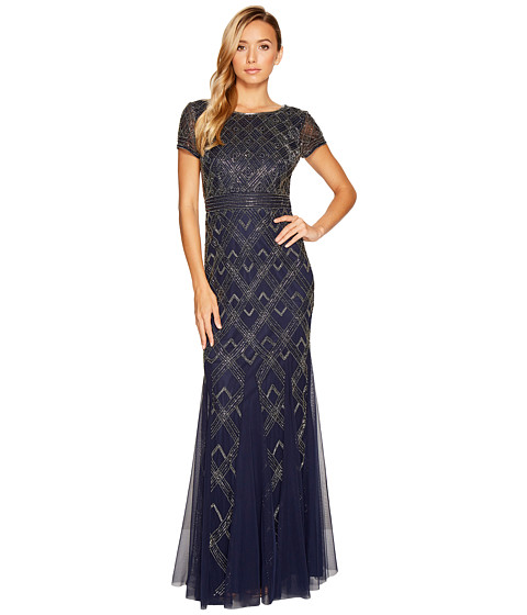 Adrianna Papell Short Sleeve Fully Beaded Gown